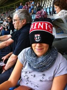 At the footie - a Saints fan